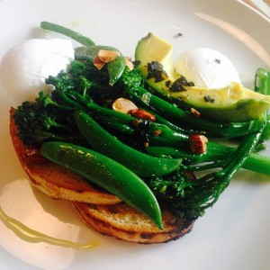 Grilled Broccolini & Sugar Snaps with Avocado, oasted Almonds, Poached Eggs and Heidi Raclette on Toast