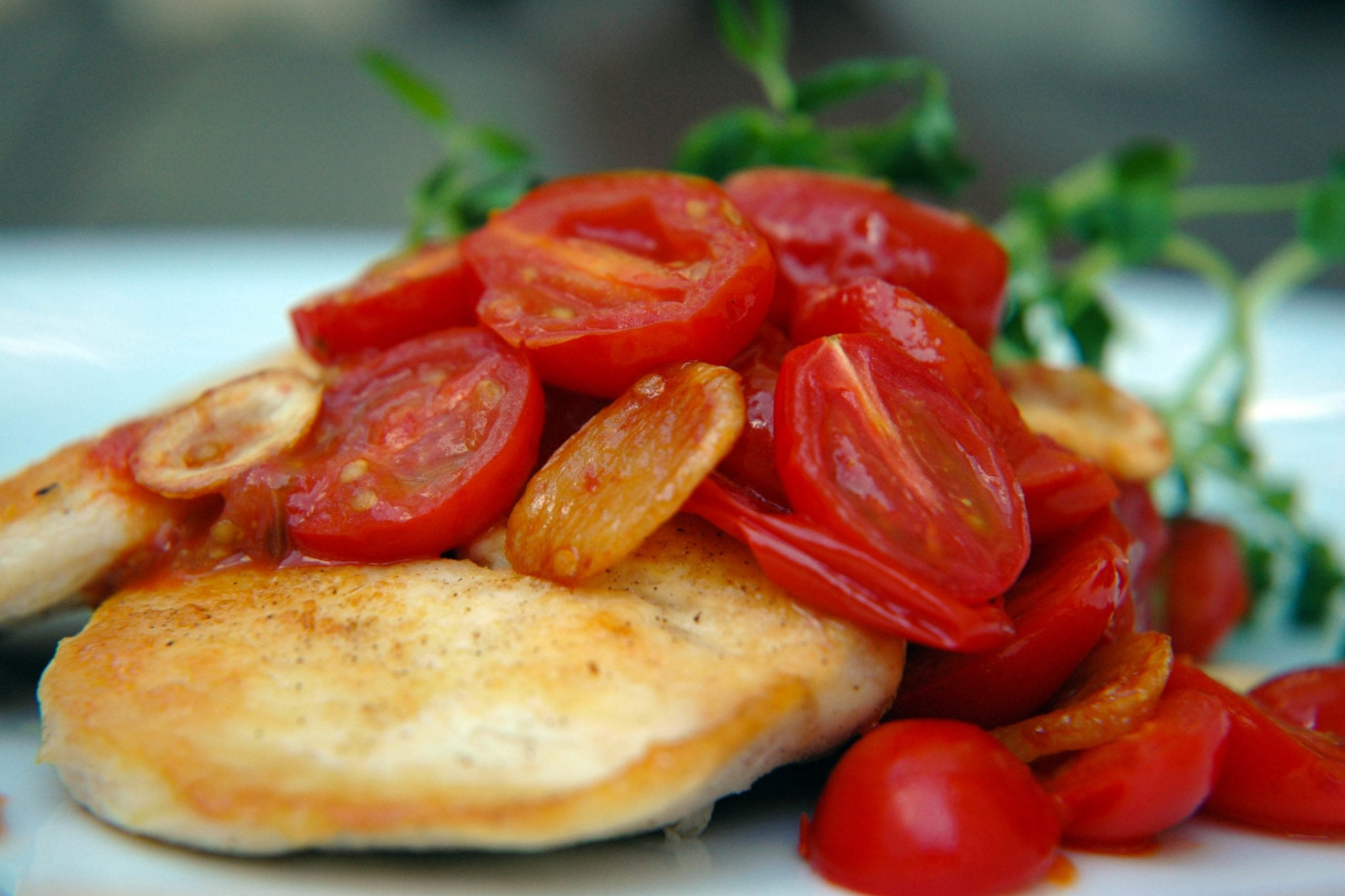 Pan Seared Chicken Cherry Tomato Compote